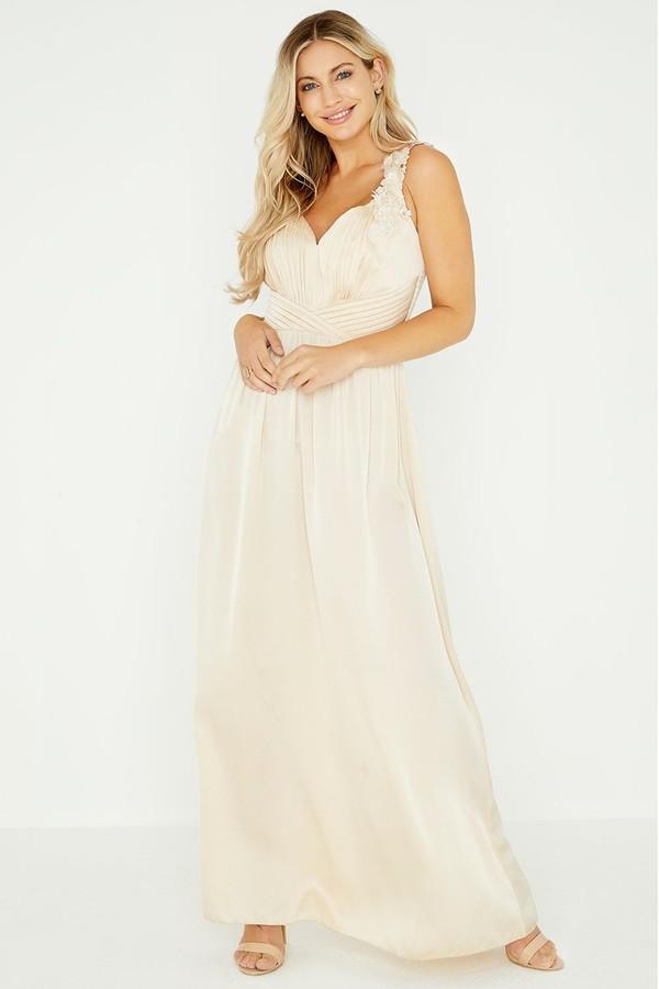 Thumbnail for your product : Little Mistress Caitlin Beige Satin Floral Trim Maxi Dress