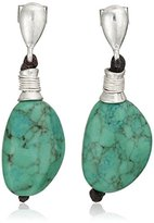 "Robert Lee Morris Let's Turquoise About It"" Semiprecious Turquoise Stone Drop Earrings"