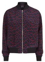 Markus Lupfer Charlot Leopard Print Silk Bomber Jacket