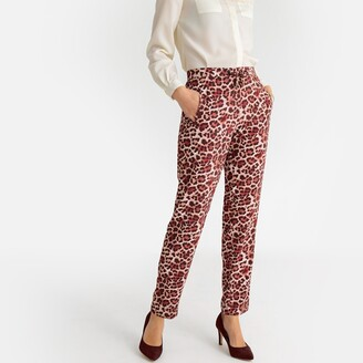 Anne Weyburn Printed Draping Slim Fit Trousers, Length 30.5""