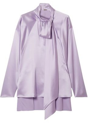 Adam Lippes Pussy-bow Silk-satin Blouse