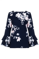 Quiz Navy And Pink Floral Print Frill Sleeve Top