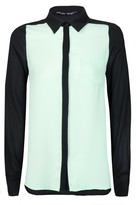 Select Fashion Fashion Womens Green Colourblock Ls Shirt - size 14