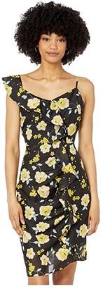 Cupcakes And Cashmere Ariadne 'Sunshine Blooms' Slub Chiffon Dress (Black) Women's Dress
