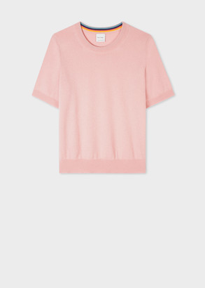 Paul Smith Women's Pink Cashmere Short-Sleeve Sweater