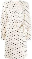 Semi-Couture Multi Polka-Dot Print Wrap Dress