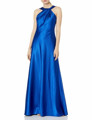 Calvin Klein Women's Halter Neck Gown with Draped Neckline and Open Back