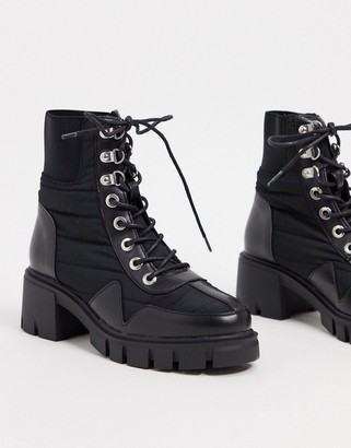 ASOS DESIGN Reggie chunky lace up hiker boots in black