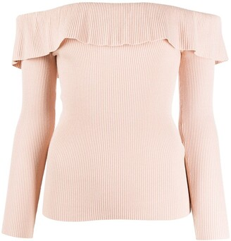 RED Valentino Ruffled Off-The-Shoulder Jumper