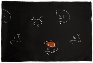 Face Line Art Printed Silk Pillowcase (One Piece) - Black