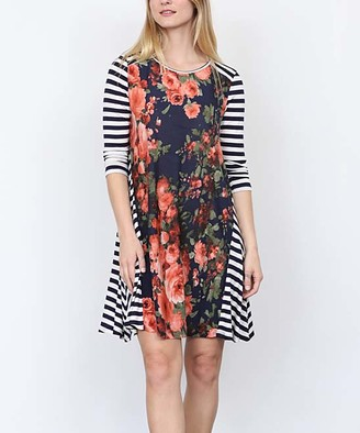 Egs By Eloges egs by eloges Women's Casual Dresses NAVY - Navy & Coral Stripe Floral A-Line Dress - Women & Plus