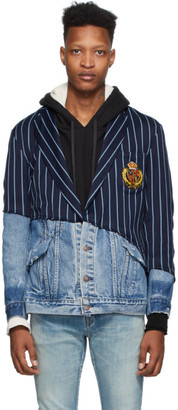 Greg Lauren Navy Stripe Denim 50/50 Prep Blazer