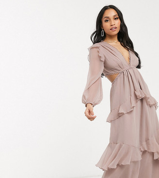 ASOS DESIGN Petite maxi dress with long sleeve and circle trim