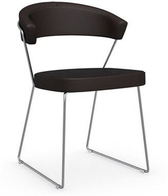 Connubia New York Leather Guest Chair Finish: Chromed, Seat Color: Leather - Black