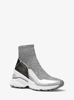 Michael Kors Mickey Metallic Stretch Knit and Embossed Leather Sock Sneaker