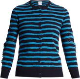 BARRIE Breton-striped cashmere cardigan