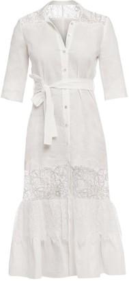 Cliché Reborn Romantic Linen Shirt Dress With Lace Inserts