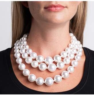 Kenneth Jay Lane Three Row White Pearl Necklace