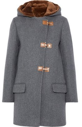 Sandro Atteo Shearling-trimmed Wool-felt Hooded Coat
