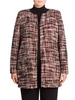 Basler, Plus Size Collarless Tweed Jacket