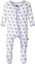 Kickee Pants Print Ruffle Footie (Baby) - Forget Me Not Floral - 3-6 Months