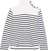 J.Crew Button-embellished Striped Cotton Top - Navy