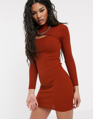 Asos DESIGN asymmetric cut out high neck mini dress