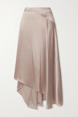 BEIGE Le Kasha - Asymmetric Paneled Silk-satin Skirt