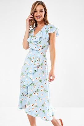 Iclothing Roisin Wrap Midi Dress in Sky Blue