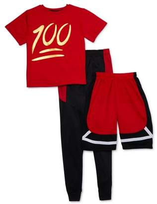 """ENCX Boys 8-18 """"100"""" T-Shirt, Joggers & Shorts Athletic Outfit, 3-Piece"""
