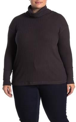 Susina Turtleneck Long Sleeve Rib Knit Top (Plus Size)