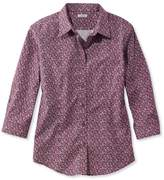 L.L. Bean Wrinkle-Free Pinpoint Oxford Shirt, Three-Quarter-Sleeve Slightly Fitted Floral