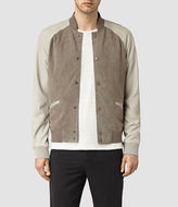 AllSaints Academy Suede Bomber Jacket