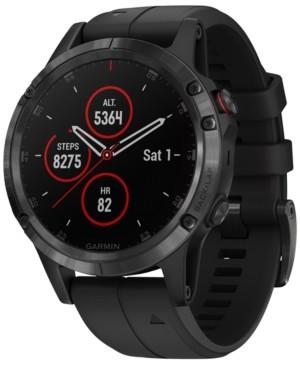 Garmin Unisex fenix 5 Plus Black Silicone Strap Smart Watch 47mm