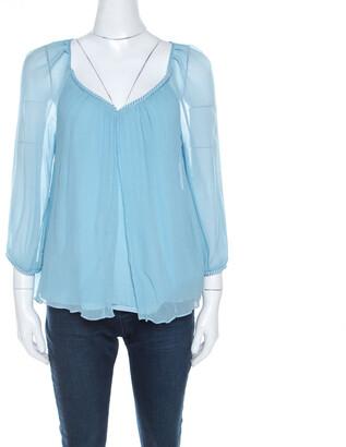 Diane von Furstenberg Powder Blue Plisse Chiffon Silk Fenobe Blouse M