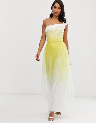 Chi Chi London one shoulder maxi tulle dress in yellow dip dye effect