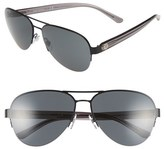 Tory Burch Women's 59Mm Aviator Sunglasses - Matte Black/ Crystal Grey