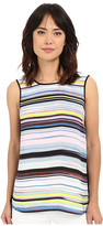 Vince Camuto Sleeveless Mix Media Stripe Enlightment Top
