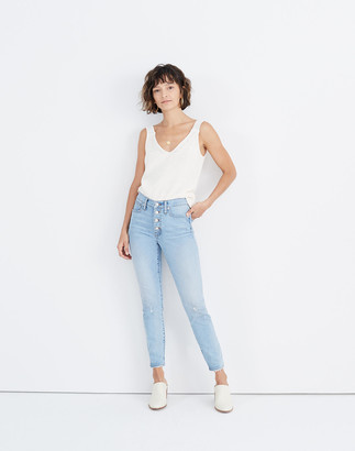 "Madewell 9"" Mid-Rise Skinny Crop Jeans in Asbury Wash: Button-Front Edition"