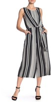 Luxology Striped Tie Front Jumpsuit