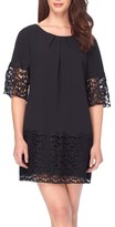 Tahari Petite Women's Crepe & Lace Shift Dress