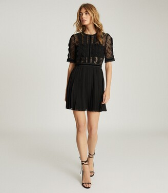 Reiss Athena - Lace Detailed Mini Dress in Black