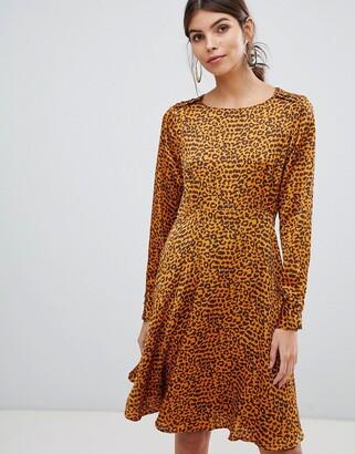 Y.A.S button detail animal swing mini dress-Multi
