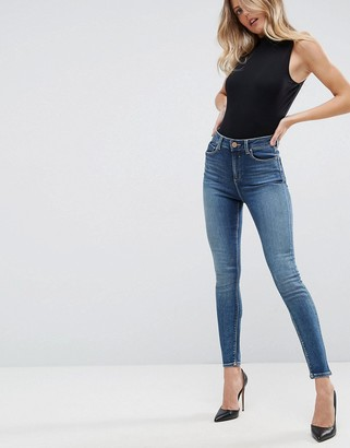 Asos Design DESIGN Ridley high waist skinny jeans in extreme wash-Blue