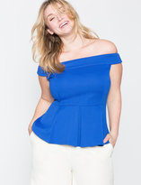 ELOQUII Plus Size Off the Shoulder Textured Peplum Top
