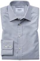 Classic Fit Large Puppytooth Light Grey Cotton Formal Shirt Single Cuff Size 16.5/33 by Charles Tyrwhitt
