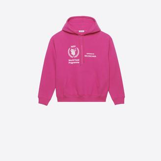 Balenciaga Shrunk Hoodie in pink WFP printed brushed fleece
