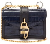Chloé Aby Mini Croc-embossed Leather Cross-body Bag - Womens - Navy