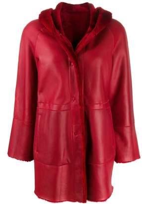 Drome single breasted leather coat