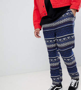 Asos Design DESIGN Plus Festival Tapered Trousers In Blue Aztec Jacquard With Elasticated Waist